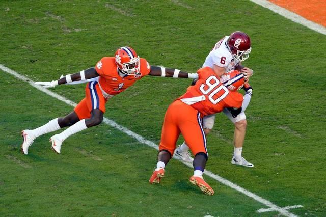 Shaq Lawson sacks Oklahoma QB Baker Mayfield in the 2016 National Semifinal game at the Orange Bowl.
