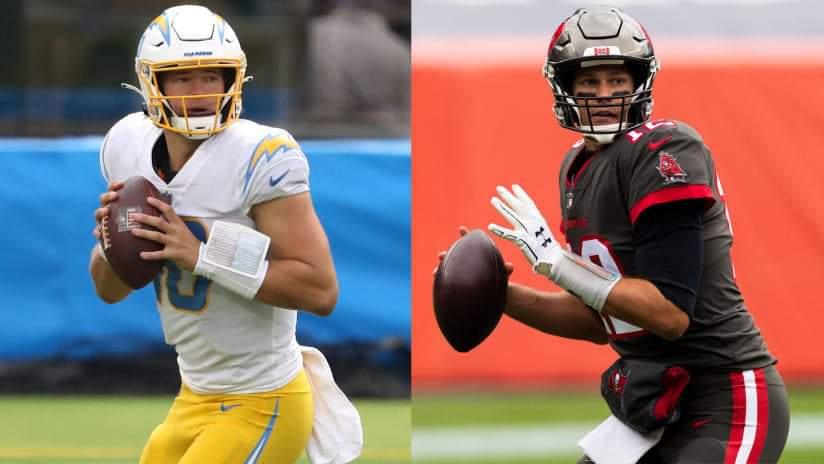 Justin Herbert and Tom Brady/via NFL.com