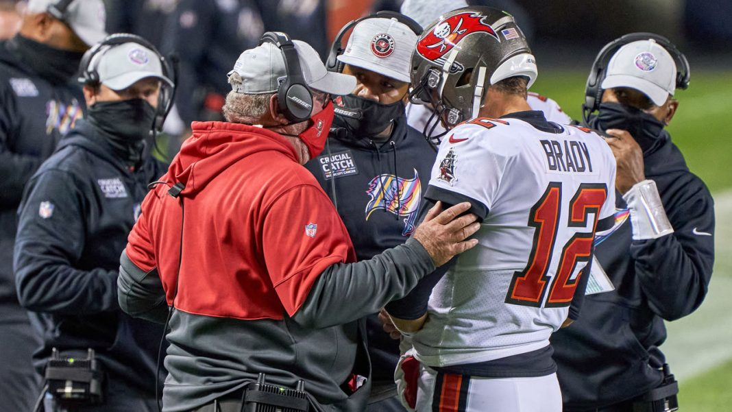 Buccaneers Bruce Arians, Byron Leftwich and Tom Brady/via Getty images