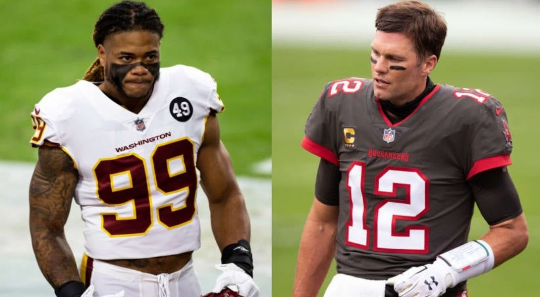 Washington Football Team's Chase Young and Buccaneers' Tom Brady/ via NFL.com