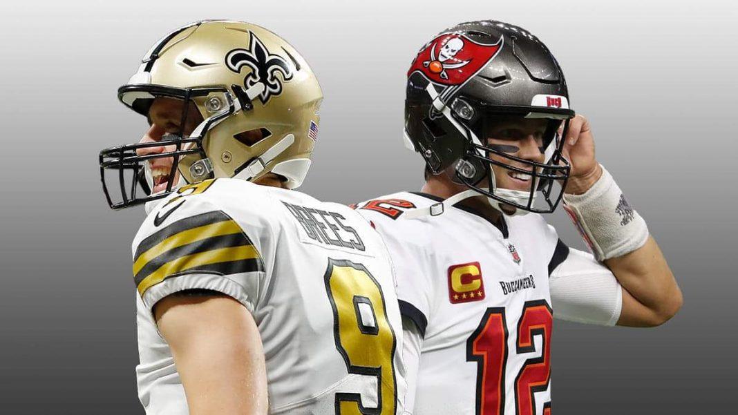 Buccaneers quarterback Tom Brady and Saints quarterback Drew Brees/via Getty Images