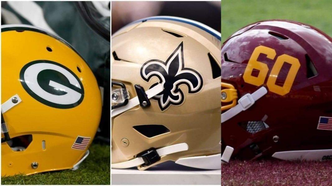 Washington Football Team, New Orleans Saints, Green Bay Packers/ via Lineups