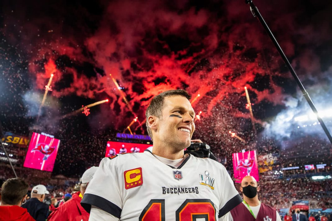 TAMPA, FL - FEBRUARY 07, 2021 - Quarterback Tom Brady #12 of the Tampa Bay Buccaneers after Super Bowl LV between the Kansas City Chiefs and Tampa Bay Buccanerers at Raymond James Stadium. The Buccaneers won the game, 31-9. Photo By Tori Richman/Tampa Bay Buccaneers