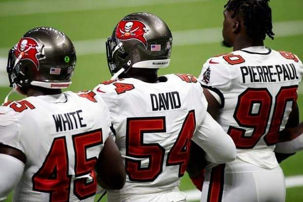 Buccaneers' linebackers Devin White, Lavonte David and Jason Pierre-Paul/ via Tampa Bay Times