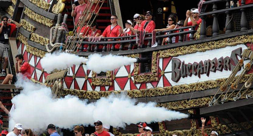 Buccaneers' pirate ship at Raymond James Stadium/via Getty Images