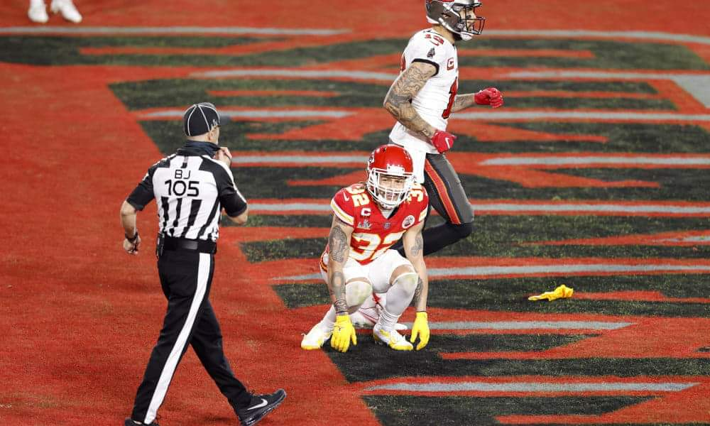 Chiefs defender Tyrann Mathieu complains about a penalty/via USA Today