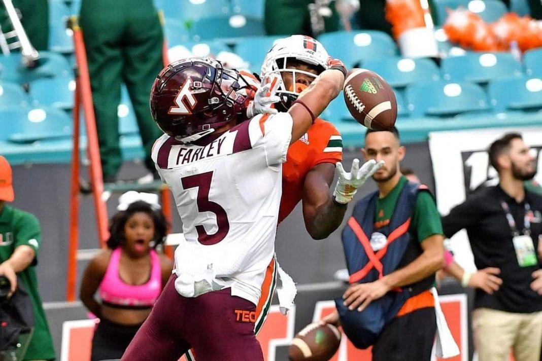 Virginia Tech cornerback Caleb Farley/via Steve Mitchell-USA TODAY Sports