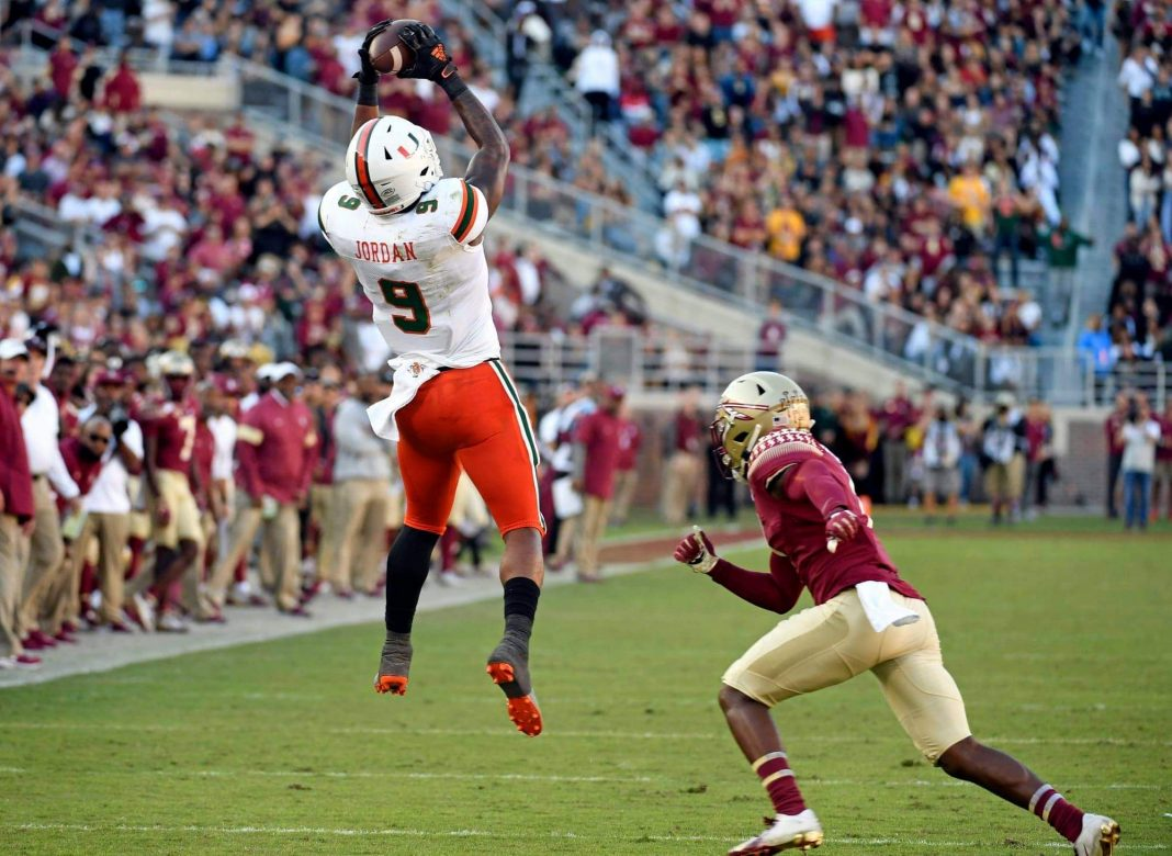 Miami Hurricanes tight end Brevin Jordan (9) catches a pass in the second half against the Florida State Seminoles at Doak Campbell Stadium. Mandatory Credit: Melina Myers-USA TODAY Sports