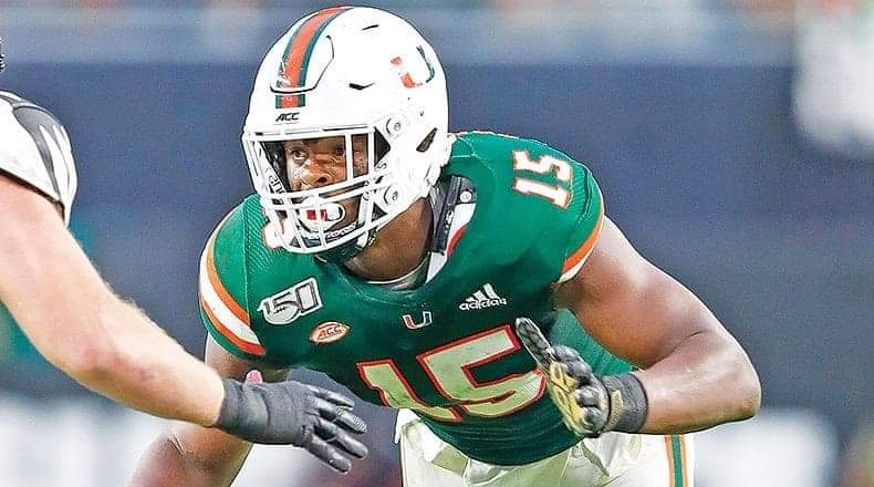 University of Miami defensive end Gregory Rousseau/via Athlon Sports