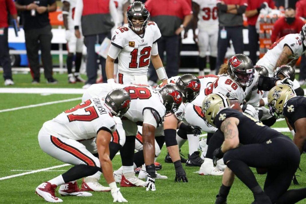 Buccaneers quarterback Tom Brady leads the Bucs against the New Orleans Saints/via Chris Graythen/Getty Images