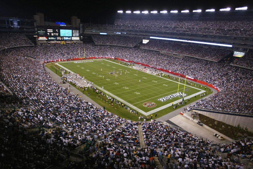 Gillette Stadium, home of the New England Patriots/via Al Bello/Getty Images