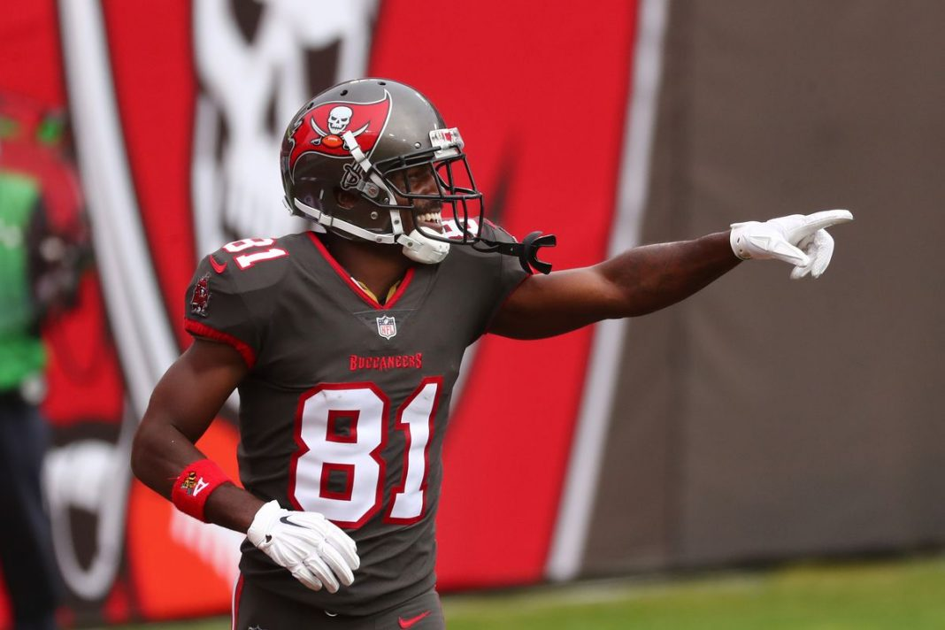 Tampa Bay Buccaneers wide receiver Antonio Brown (81) celebrates after scoring a touchdown against the Atlanta Falcons Kim Klement-USA TODAY Sports