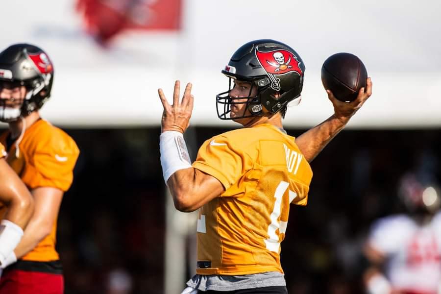 Buccaneers quarterback Tom Brady throws during training camp/via WFLA.com