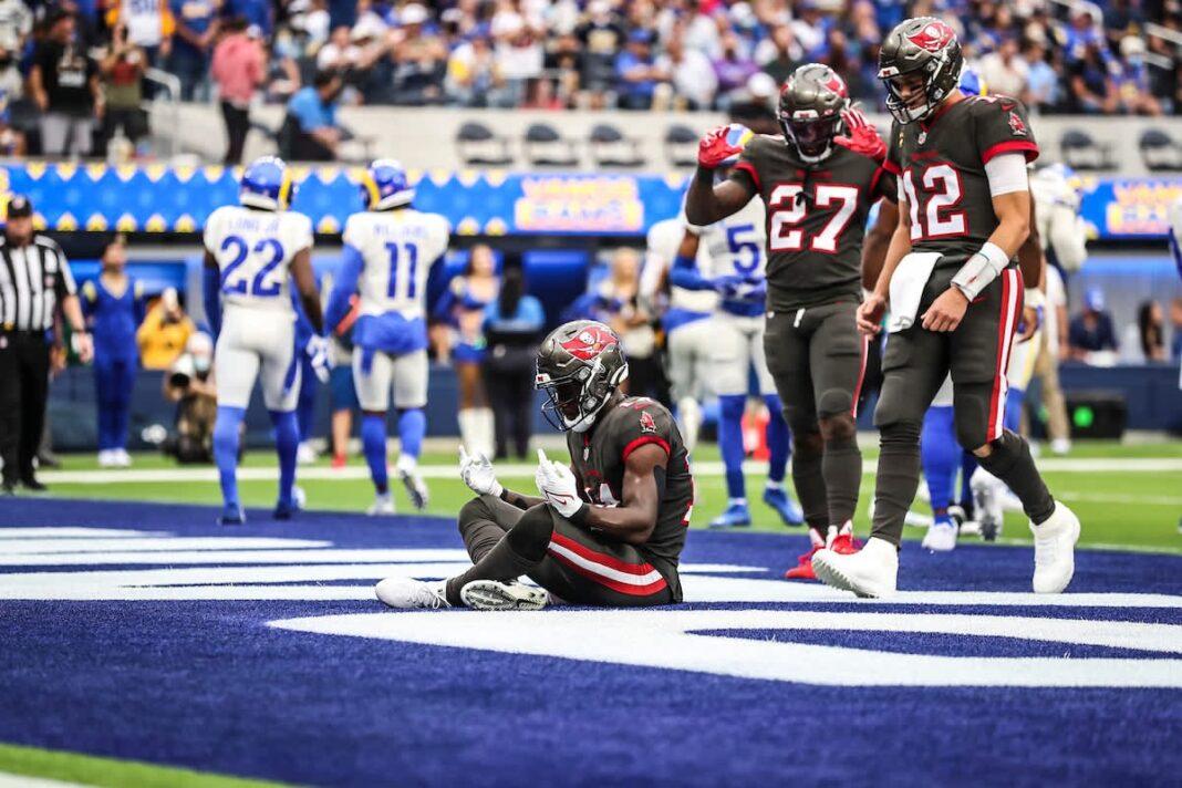 Buccaneers wide receiver Chris Godwin celebrates his two yard touchdown run/via buccaneers.com